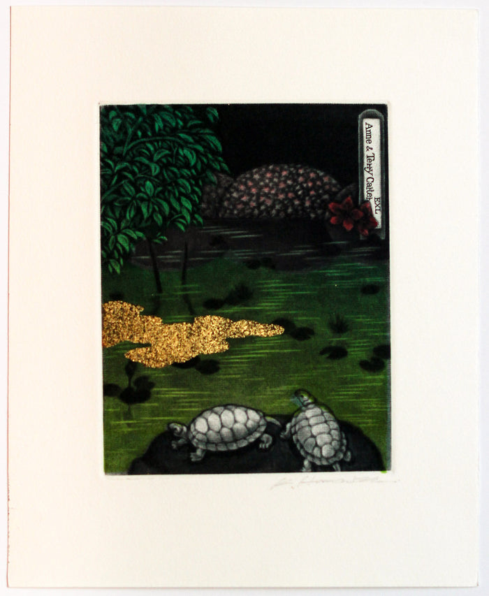 Azaleas (Ex Libris) Mezzotint Katsunori Hamanishi Turtles Ponds The Print Center
