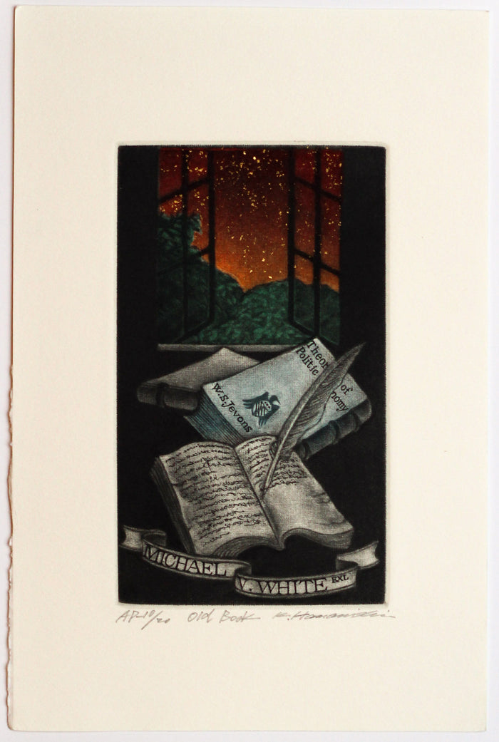 Old Book (Ex Libris) mezzotint Japanese art the print center katsunori hamanishi books window dusk