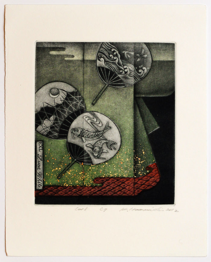 Cool (Ex Libris) Katsunori Hamanishi Mezzotint fans landscape culture the print center