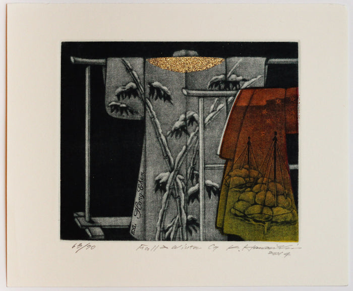 Fall and Winter (Ex Libris) the print center Katsunori Hamanishi Mezzotint Asian art traditional kimonos patterns nature gold leaf