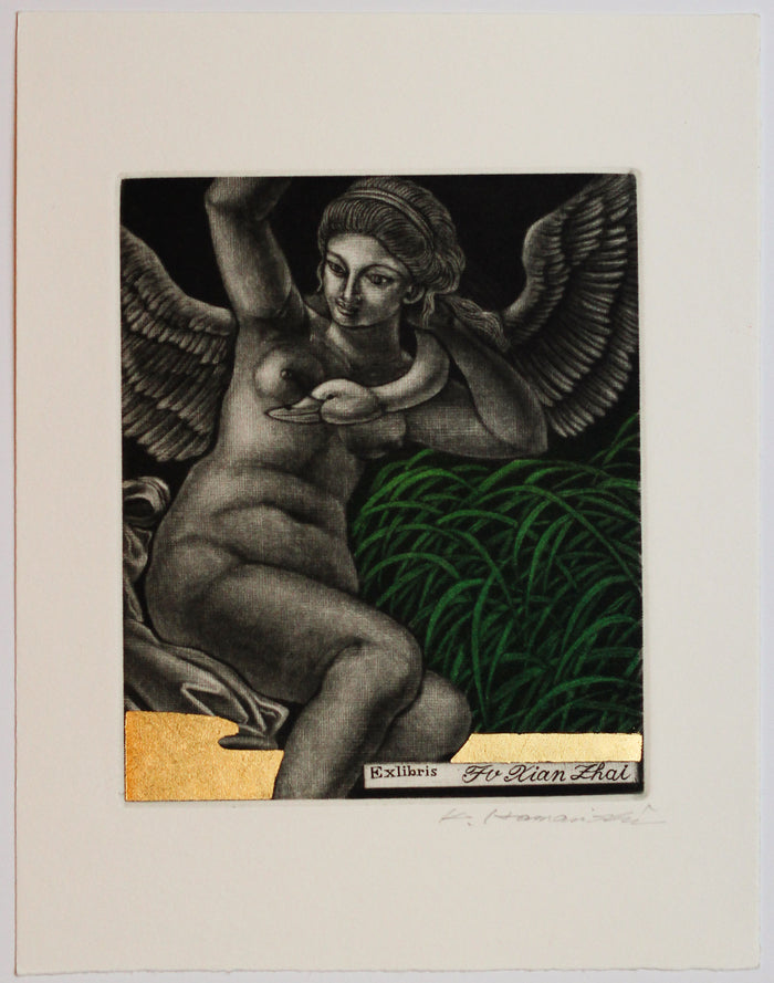 Leda and Swan No.1 (Ex Libris) Katsunori Hamanishi Mezzotint the print center woman with wings angel gold leaf Japanese style printmaking art grass swan