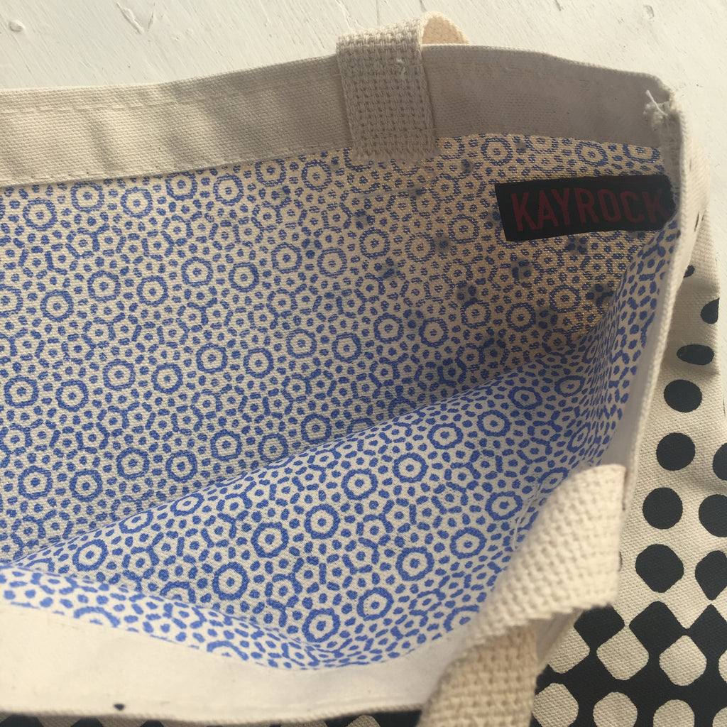 Halftone White Handle Tote wearable accessory tote bag the print center Kayrock Screenprinting black and white halftone polka dots