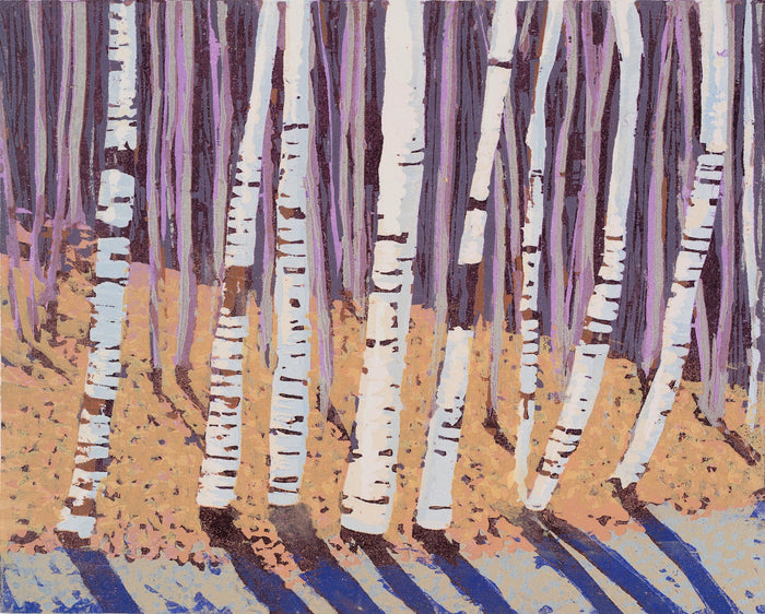 Linear Landscape #4 white birch trees cynthia back woodcut shadow linear shapes repetition the print center gallery Philadelphia