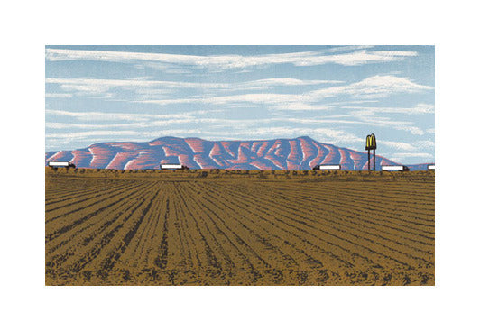 Next Exit...Mickey D's woodcut anthony lazorko funny prints road trip fast food farm field sky mountains