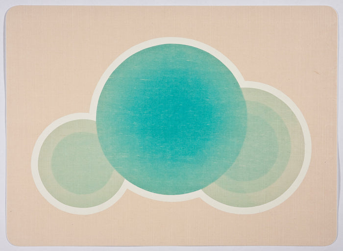 Leisure Pool 6 woodcut printmaking kristen Martincic the print center gallery philadelphia three circles color gradients blue