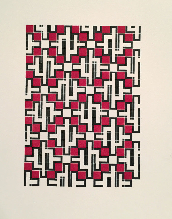 Nessonis 1: Pyrassos purgatory pie press letterpress the print center pattern red black and white