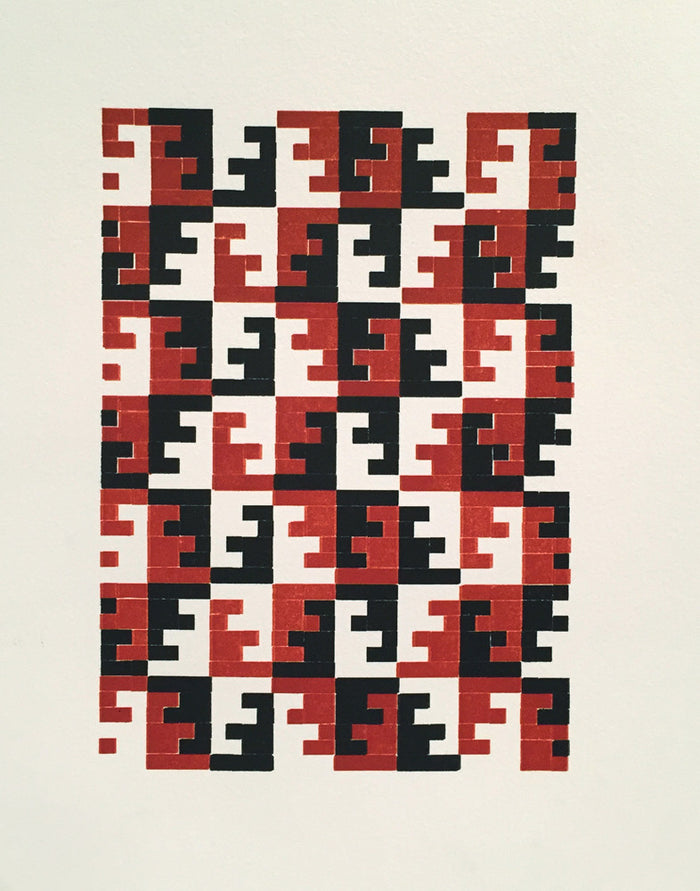 Sihuas 2-1-3-2-4 Purgatory Pie Press Letterpress the print center graphic optical illusion red black and white