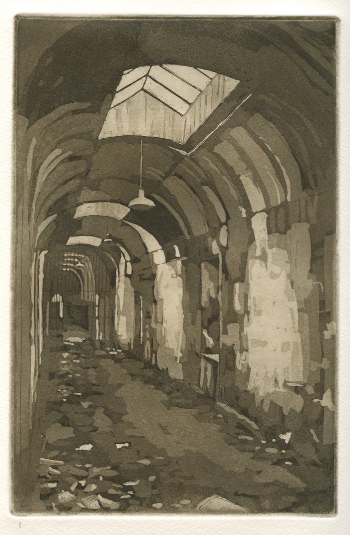 Penitentiary Ken Sutherland Philadelphia Landmarks old building etching the print center