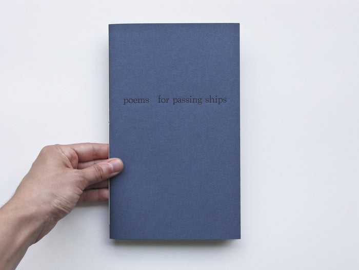 Poems for Passing Ships Marianne Dages letter press book poems and text blue