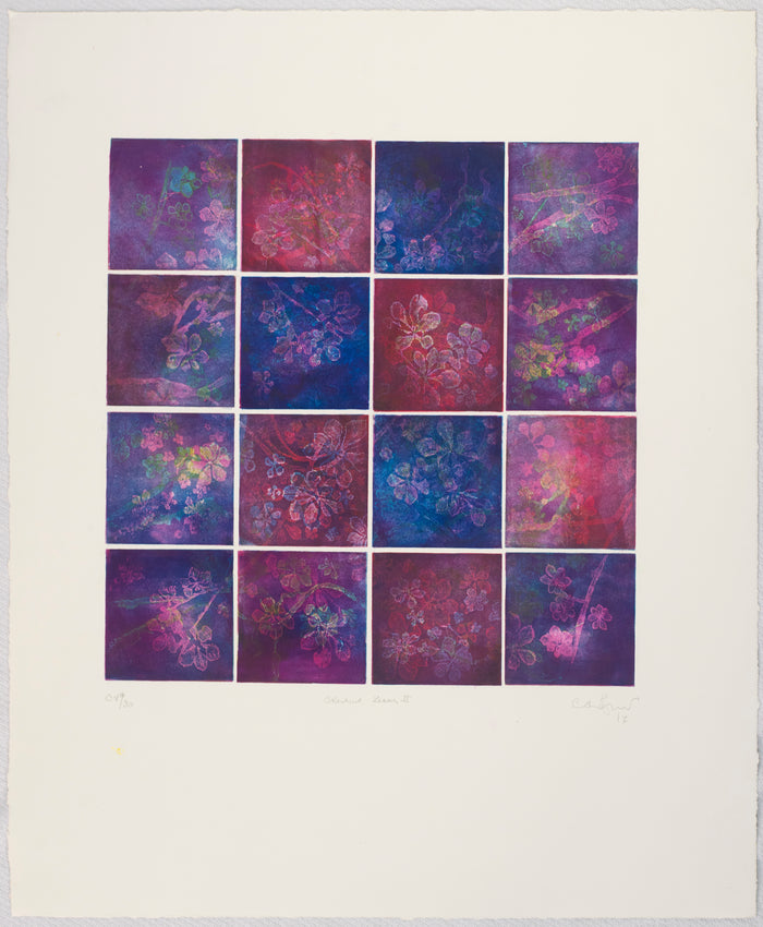 Chestnut Leaves II etching Anna Jeretic purple and pink and blue sqaures floral patterns The Print Center