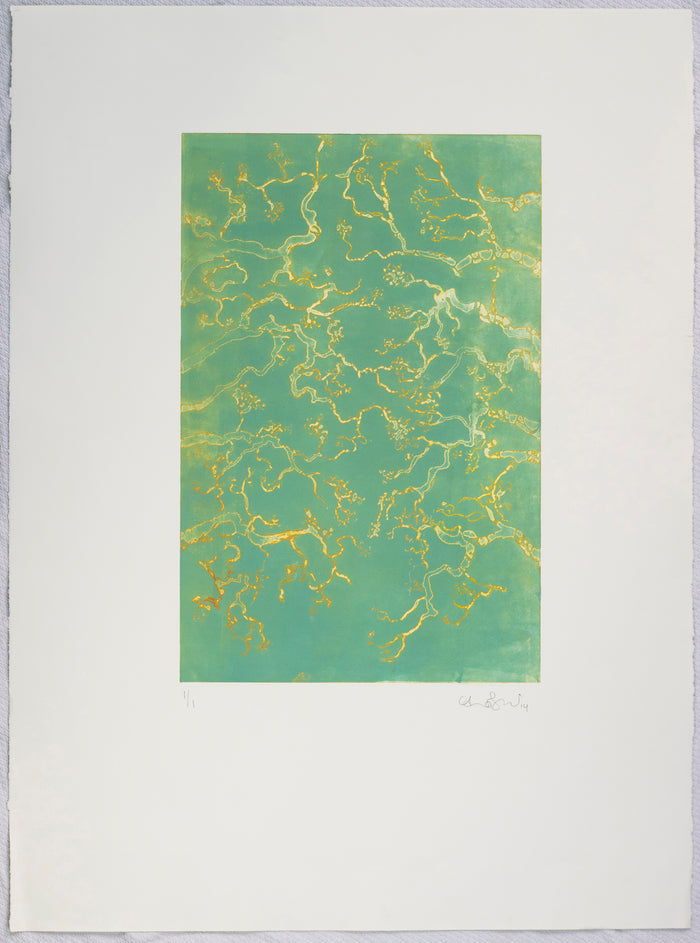 Oak Tree Alley etching anna Jeretic the print center green with water reflection in gold leaf abstraction