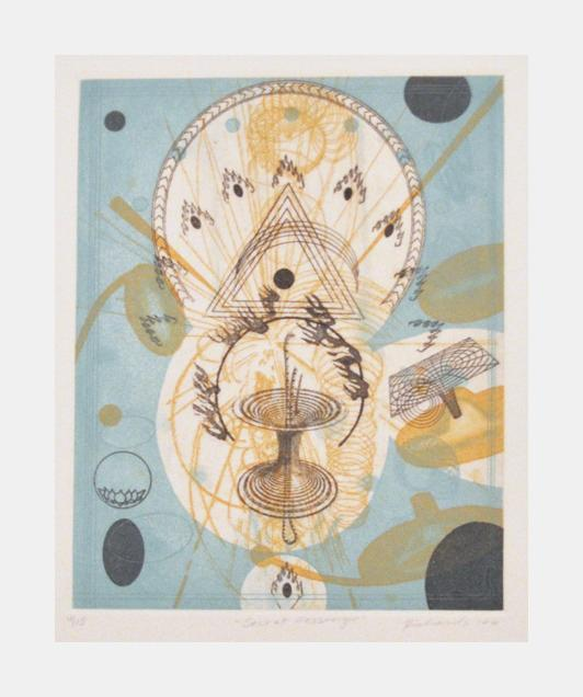 Secret Messenger Rosalyn Richards Intaglio the print center portals space floating objects shapes