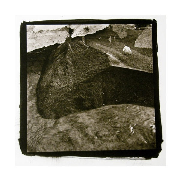 Rock With Ice, Scudder Falls Platinum Palladium Print black boarder nature dirt earth rocks James Syme