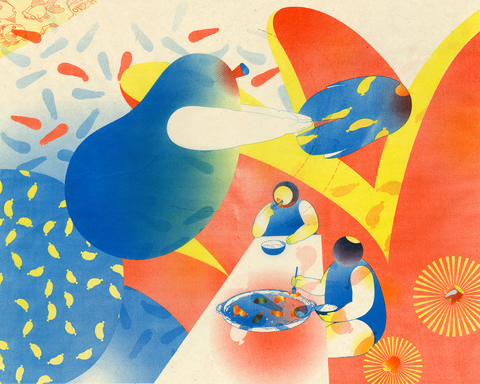 Sausage Party IV Qiaoyi Shi Lithograph the print center blob people food dinner eating community