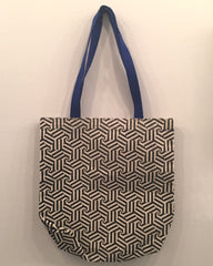 Hexagon Blue Handle Tote