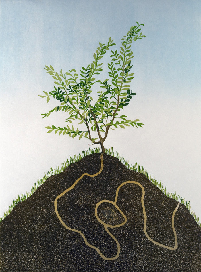 Boxwood (The Journey is the Treasure) Engraving Gold Leaf Rebecca Gilbert Made in Philadelphia Nature soil roots