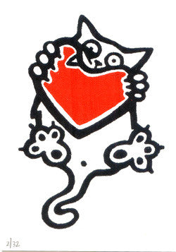 A Little Valentine Pussy Marlise Tkaczuk Silkscreen cat heart Valentine Made in Philadelphia The Print Cente