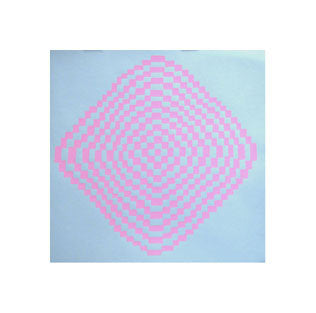 Diamond Wave No. 2 Andrew Jeffrey Wright for kids silkscreen optical illusions pink blue color theory checkerboard squares movement