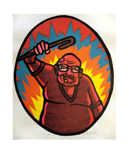 Angry Old Man Silkscreen Marlise Tkaczuk Made in Philadelphia Prints The print center