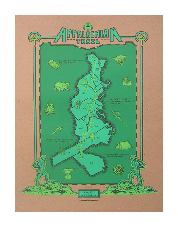 Appalachian Trail Map Silkscreen printing Rodger Binyone Made in Philadelphia Maps Mountains Topography The print center