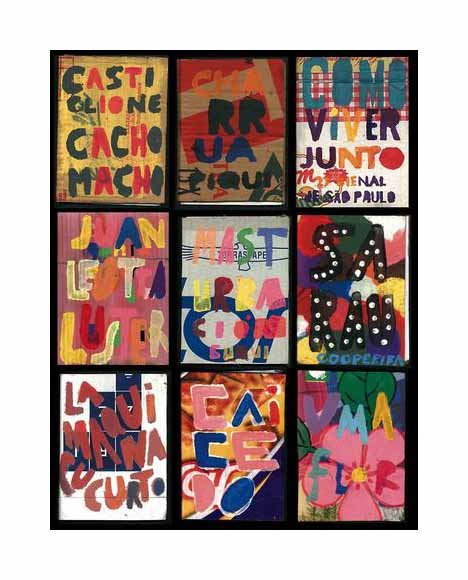 Recent Titles Elosia Cartonera book title pages text collage vibrant colors grid