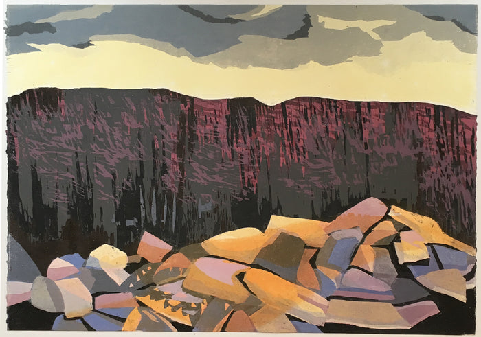 Fallen Rocks Cynthia Back the print center woodcut color based abstraction nature mountains landscapes