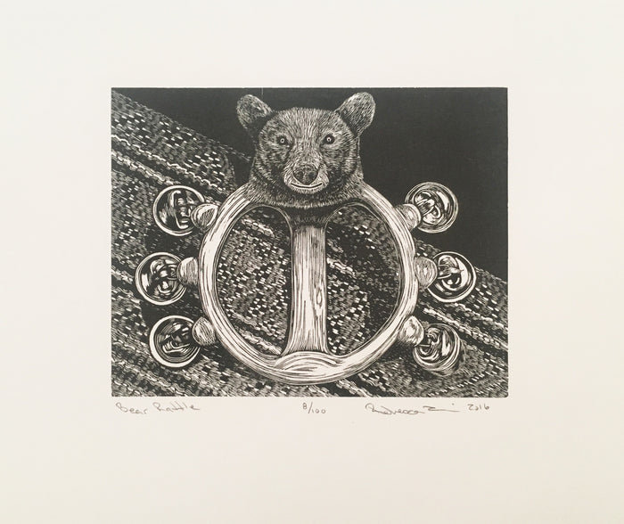 Bear Rattle Engraving Rebecca Gilbert The Print Center Artifact Symmetry