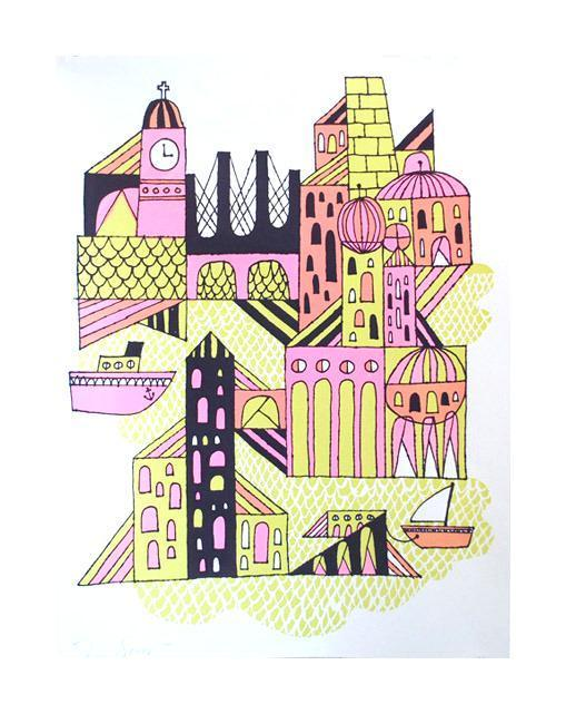 Big City Silkscreen Tim Gough Made in Philadelphia city illustration playful patterns buildings The Print Center