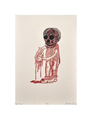 Heart throb Bill McRight Silkscreen valentines day horror skull blood cartoon the print center red ink