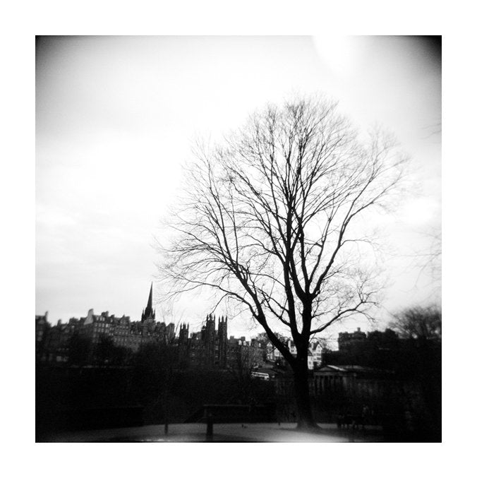 Edinburgh Rain Pigment Print Gelatin Silver Print Julia Blaukopf the print center made in philadelphia photography black and white landscapes city tree