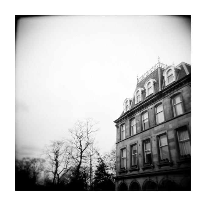 Edinburgh Tree Inkjet print Julia Blaukopf the print center made in philadelphia black and white photography buildings city