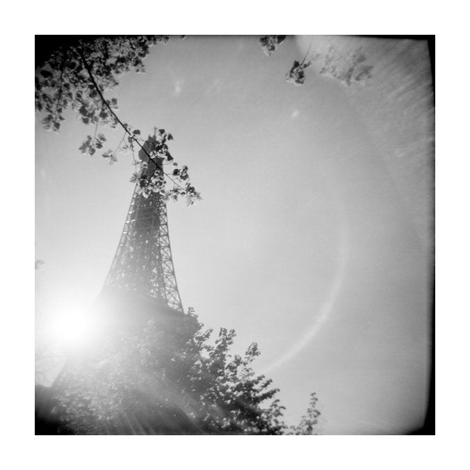 Eiffel Tower Julia Blaukopf the print center paris inkjet print black and white photography made in philadelphia landscapes sun glare