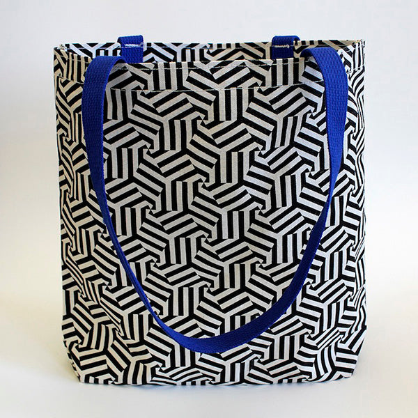 Hexagon Blue Handle Tote Bag accessory the print center wearable gifts kayrock screen printing totebag