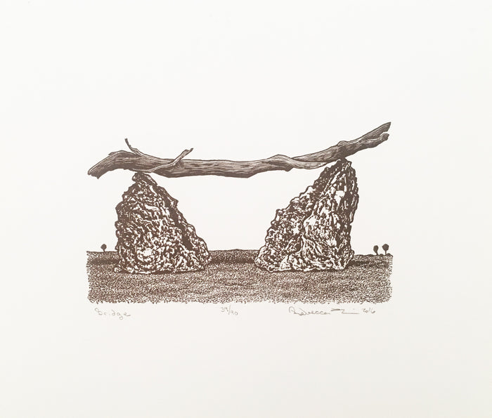 Bridge Woodcut Rebecca Gilbert Balance Rocks Sticks and nature The Print Center