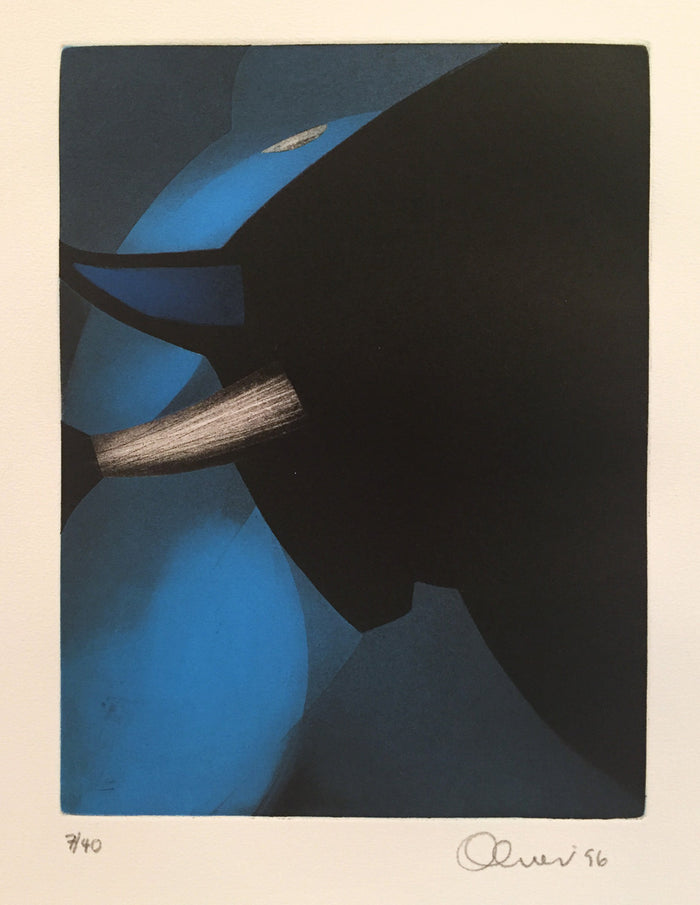 Bull with Blue III etching with aquatint Perry Oliver Color Based Abstraction shapes animals The Print Center