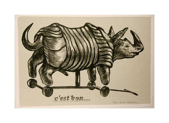 C'est Bon... Endi Poskovic Lithograph The Print Center Rhino on wheels