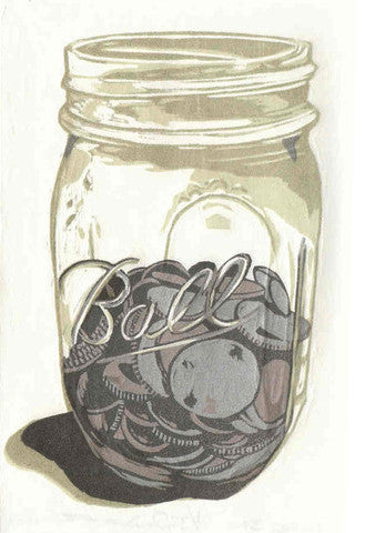 Change Jar Rebecca Gilbert Woodcut Relief Made in Philadelphia The Print Center change savings