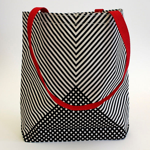 Chevron Red Handle Tote Bag Kayrock Screenprinting apparel wearable bag The Print Center Black white and red