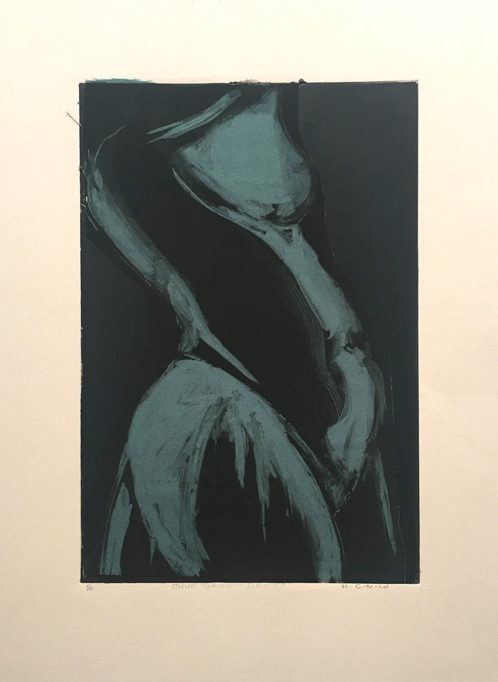 Blue-Green Dress Monotype Nancy Citrino Figure The Print Center Made in Philadelphia
