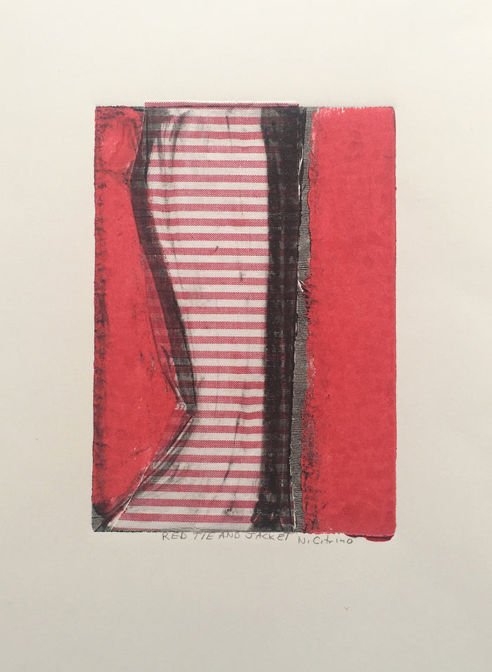 Red Tie and Jacket Nancy Citrino monotype clothing close up abstraction stripes out fit made in Philadelphia