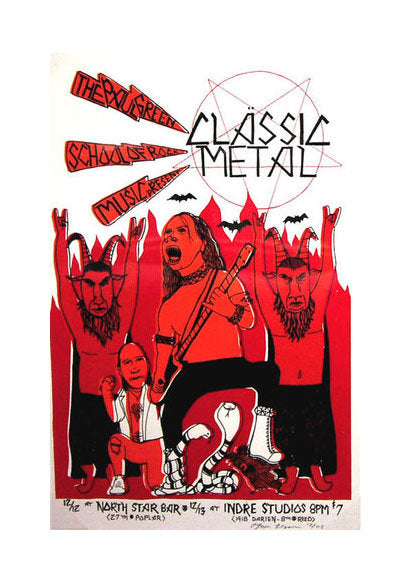 Classic Metal Thom Lessner silkscreen the print center red and black metal music show poster made in Philadelphia