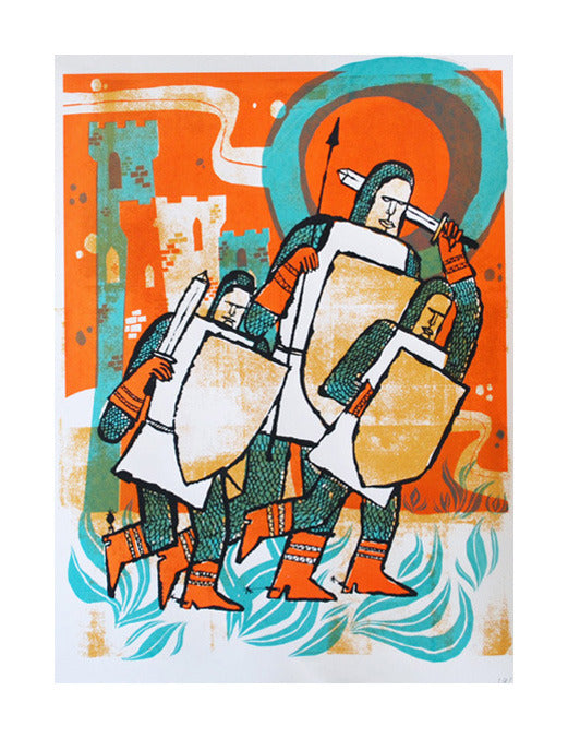Crusaders tim gough silkscreen printing made in philadelphia fantasy knights the print center