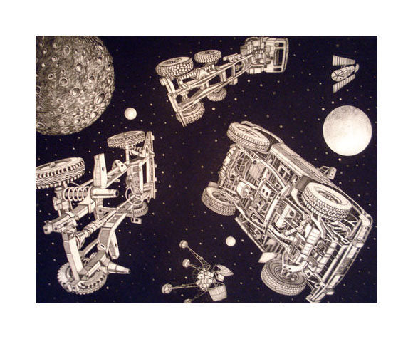 Deep Space Traffic Intaglio Etching Bruce McCombs the print center outerspace stars moon planets sci-fi lost objects cars