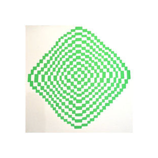 Andrew Jeffrey Wright Diamond Wave Optical Illusions checkerboard patterns green silkscreen the print center