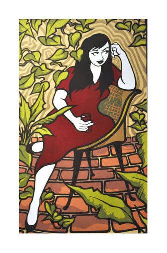 Dinner with the Tiberinos, May Silkscreen Malrise Tkaczuk made in philadelphia woman red dress patio plants drinking