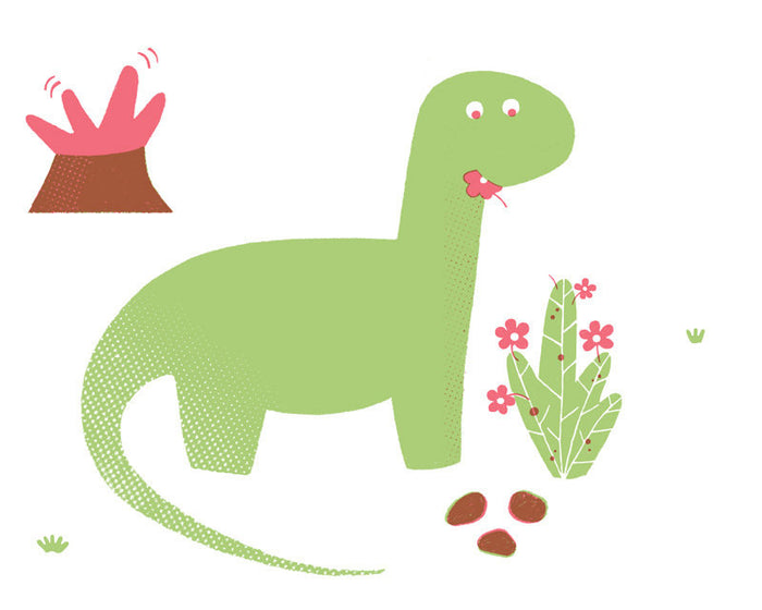 Apatosaurus Greg Pizzoli Dinosaur volcano The Print Center Made in Philadelphia Children's Illustrator silkscreen