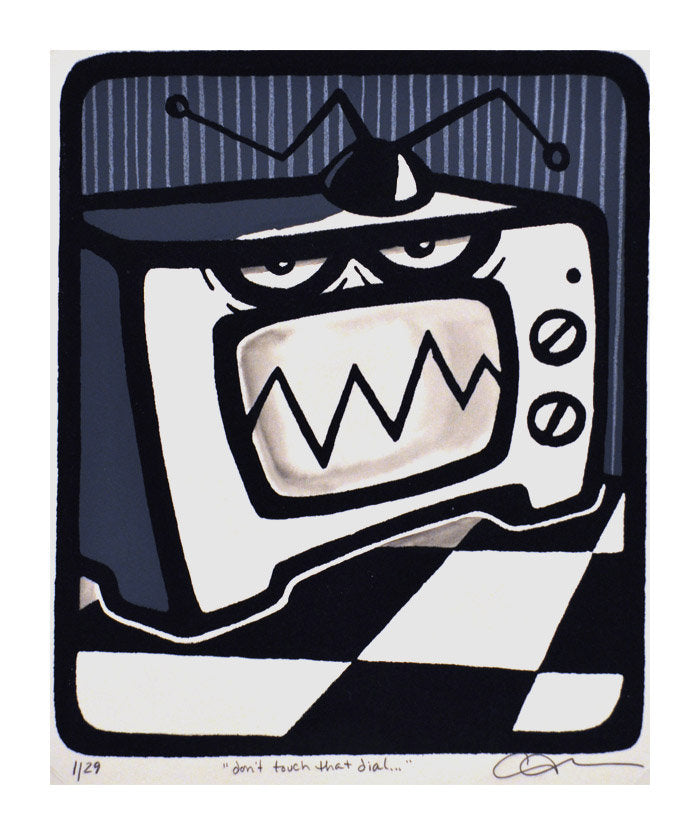 Dont Touch that Dial Marlise Tkaczuk Silkscreen tv cartoon checkerboard made in Philadelphia for kids