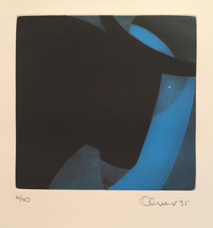 Dreamer and Bull Perry Oliver etching the print center color based abstraction black and blue