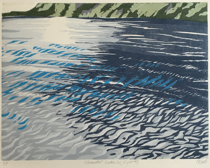 Elemental: Water, Air, Light #3 abstract landscapes Cynthia bakc woodcut water light water