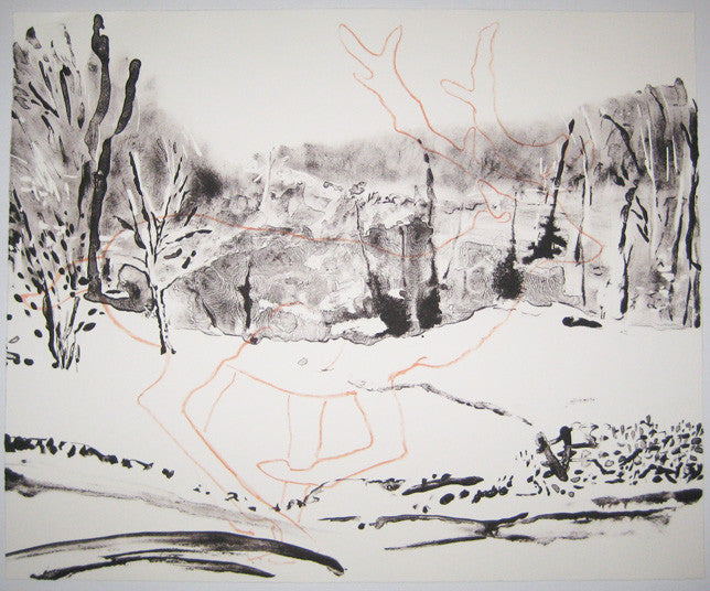 Little Brook in March deer outline wintertime snow lithograph emily brown the print center made in Philadelphia